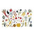 fresh vegetables set vegetarian food hand drawn vector image