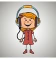 girl kid headphones music icon vector image