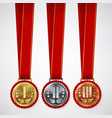 gold silver bronze place badge medal set vector image