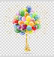 golden streamer balloons and confetti vector image vector image