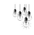 grunge with hanging light bulbs and place for vector image