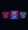 heavy metal party neon sign rock music vector image vector image