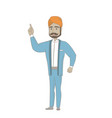 hindu businessman pointing his forefinger up vector image vector image