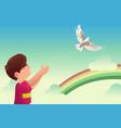 kid release a bird vector image
