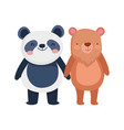 little panda and bear cartoon character on white vector image vector image