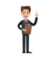 man business cartoon holding clipboard finger vector image