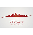 Minneapolis skyline in red vector image vector image