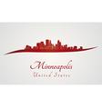 Minneapolis skyline in red vector image vector image