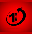 one hour arrow icon vector image vector image