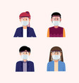 people using face shield and mask vector image vector image
