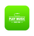 play music icon green vector image