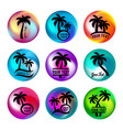 rainbow ball like buttons with palm trees vector image vector image