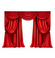 red theatrical curtain on white background vector image vector image