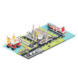 refinery plant isometric oil tank farm offshore vector image vector image