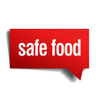 safe food red 3d realistic paper speech bubble vector image vector image