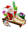 santa claus beach vacation vector image vector image