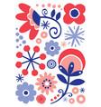 scandinavian folk art floral design vector image vector image
