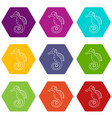 seahorse icons set 9 vector image
