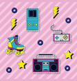 set of 90s elements and technology vector image