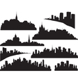 set of cities silhouette vector image vector image