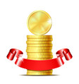 stack of coins with red ribbon vector image vector image