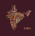 textured map india hand drawn ethno vector image vector image