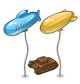 two balloons in form airship and chocolate tank vector image