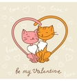 Valentines day love postcard with hand drawn cats vector image vector image