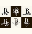 vintage set capital letter b for monograms and vector image