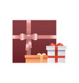 wrapped gift box with bow and ribbon present vector image vector image
