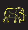 line yellow gold elephant design vector image