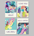 hand drawn abstract cards vector image