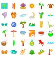 palm tree icons set cartoon style vector image