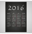 2016 wall calendar white text on black board eps10 vector image