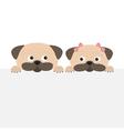 Pug dog mops set Boy and girl Cute cartoon vector image