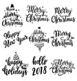 set of christmas lettering emblems isolated on vector image