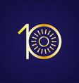 10th anniversary years with a circle sun vector image vector image