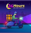 24 hours delivery a man rides a scooter bike vector image