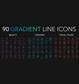 90 trendy gradient style thin line icons set of