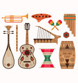 aztec and mexican ethnic musical instruments set vector image
