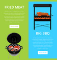 barbecue party flyers with meats on grill vector image vector image