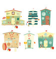 Beach Huts on Seafront Set Isolated vector image vector image