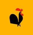 black rooster flat style logo template vector image