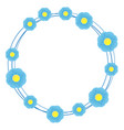 blue flower with circle on white background vector image