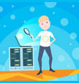 boy hand hold zoom laptop on hosting server vector image vector image