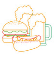 burger and hot dog with two beer vector image