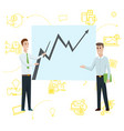 business man standing pointing to diagram chart vector image