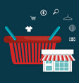 buy on line with shopping basket vector image vector image