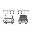 car washing line and glyph icon clean and service vector image vector image