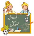Cartoon schoolgirl and schoolboy at the blackboard vector image vector image